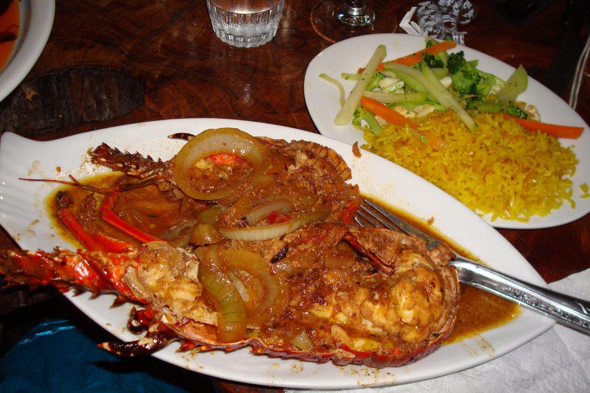 Miss Edith's spicy coconut lobster, Cahuita, Costa Rica