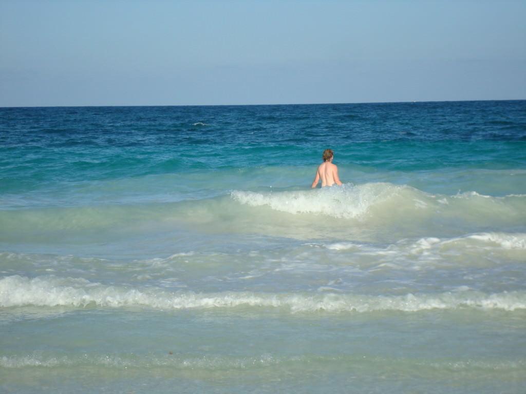 Tulum beach sunset swim