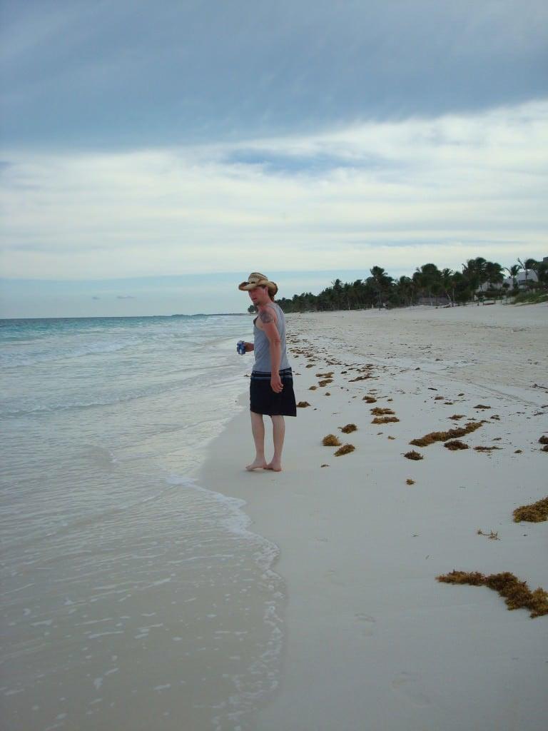 Tulum beach sunset walk