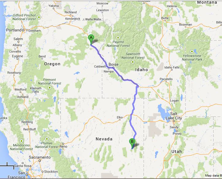 map baker city to ely