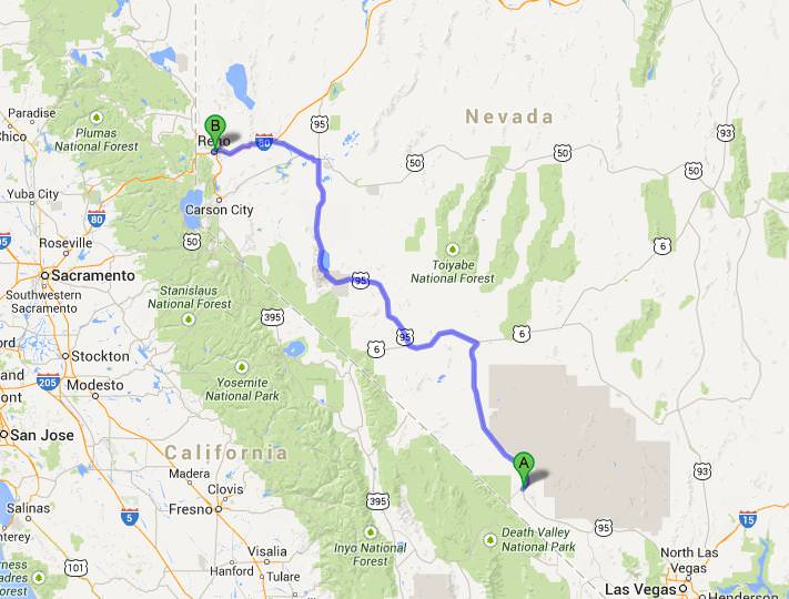 map beatty to reno