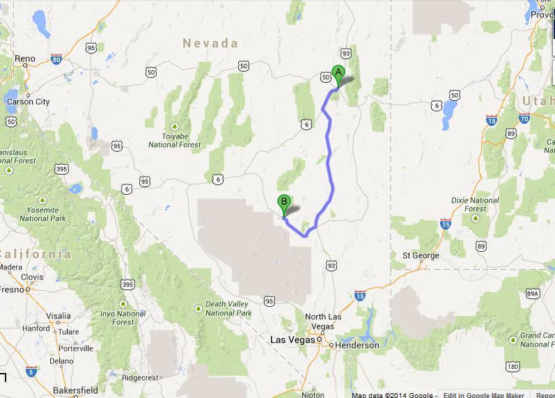 map ely to rachel