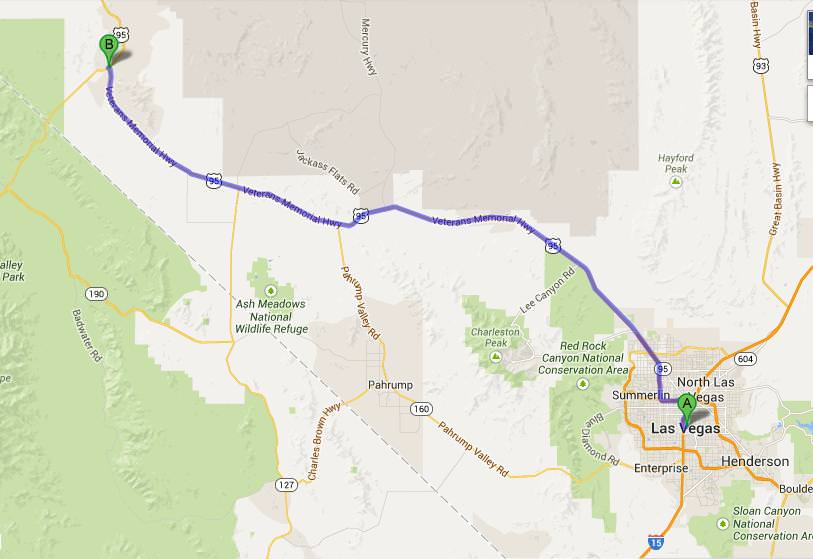 map las vegas to beatty