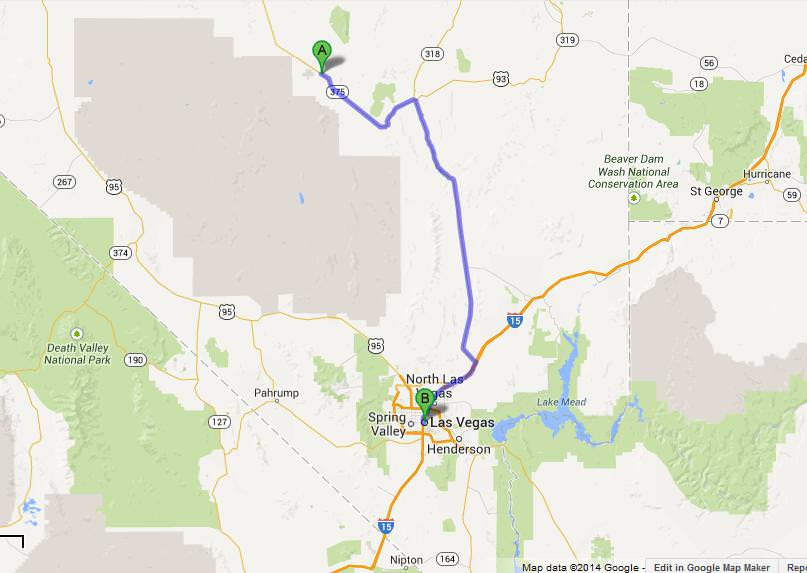 map rachel to las vegas