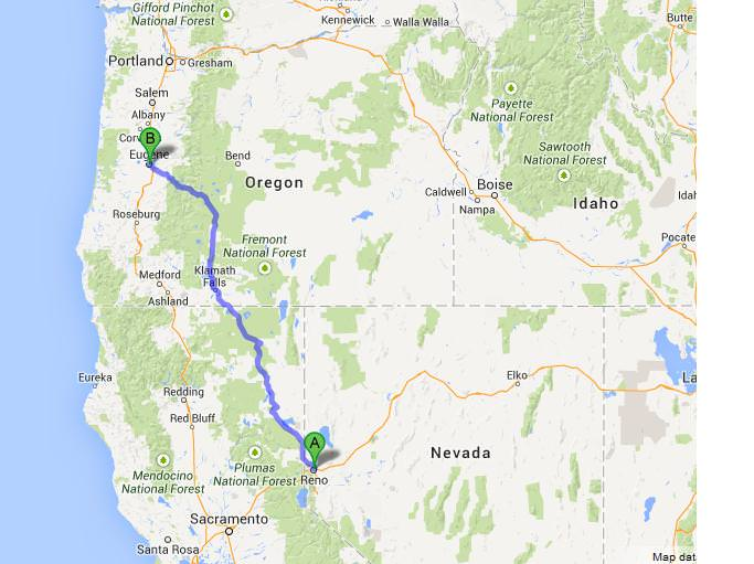 map reno to eugene