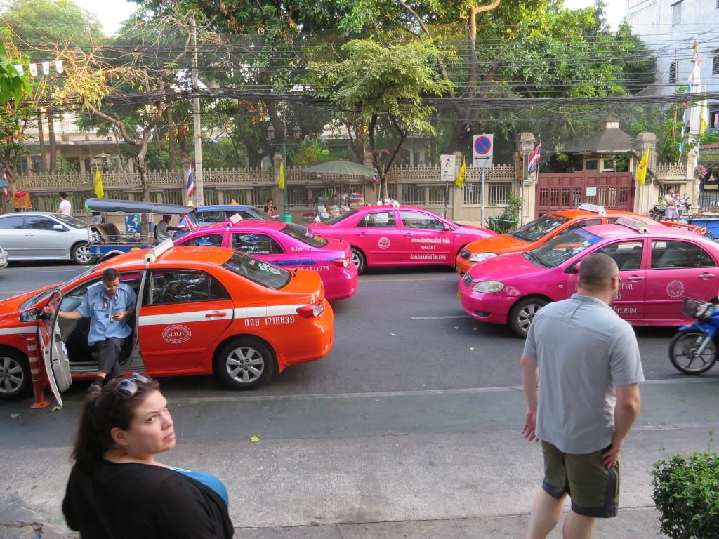 pink taxi cabs Bangkok Thailand 404