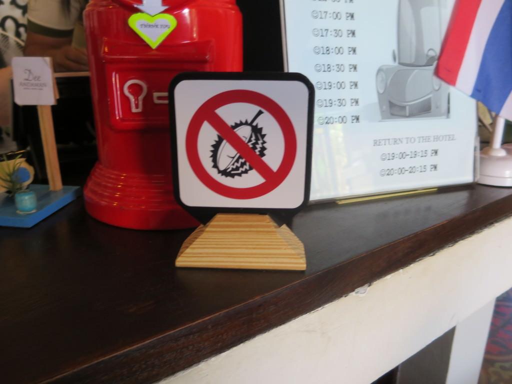 No durians Dee Andaman Hotel Krabi Thailand