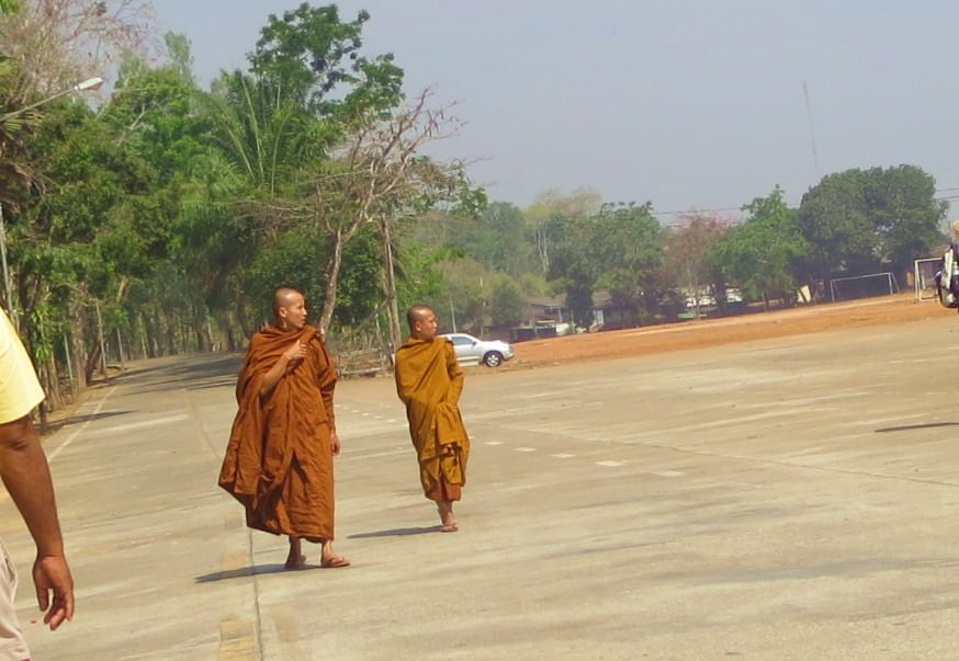 Buddhist monks in Songkhlaburi Thailand