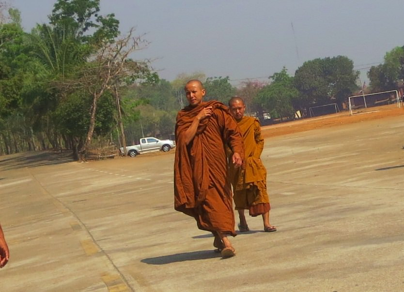 Buddhist monks in Songkhlaburi Thailand