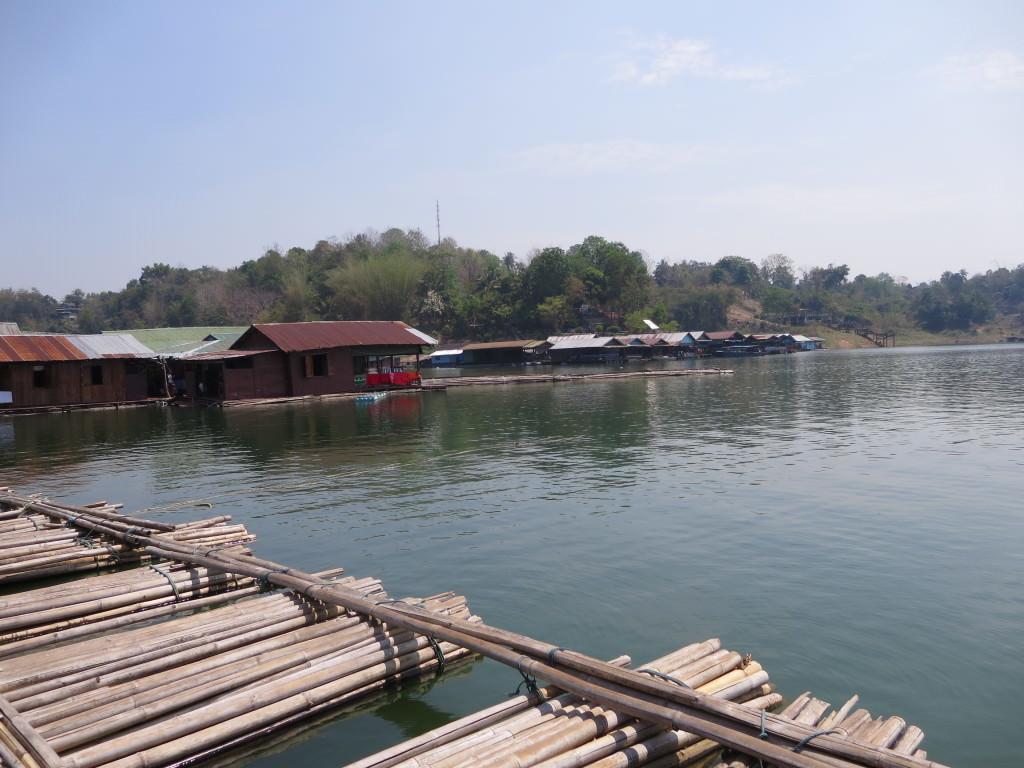 Crossing the bamboo bridge Songkhlaburi Thailand