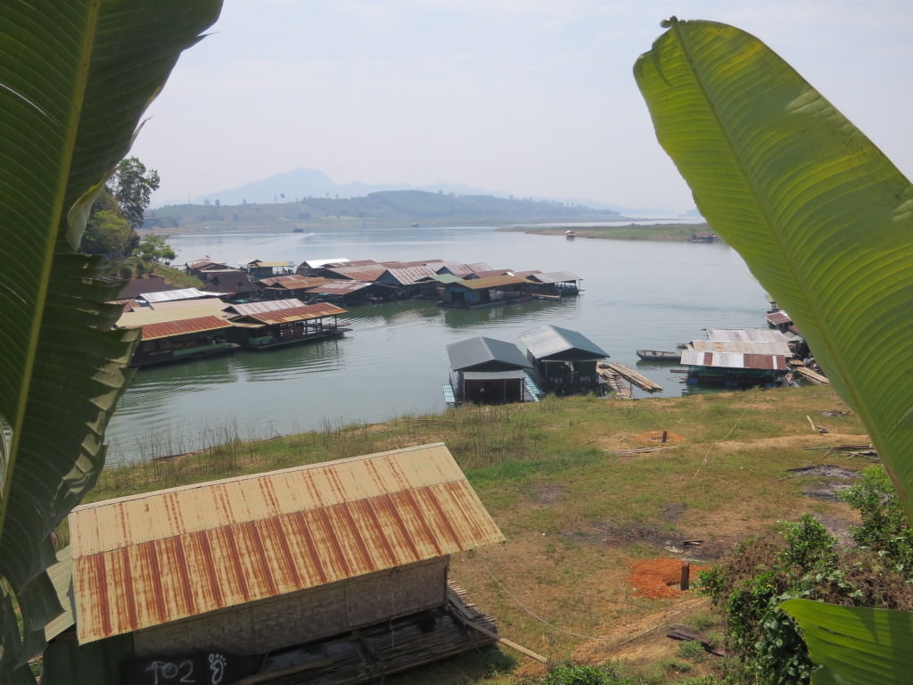 Mon village from top of the hill Songkhlaburi Thailand