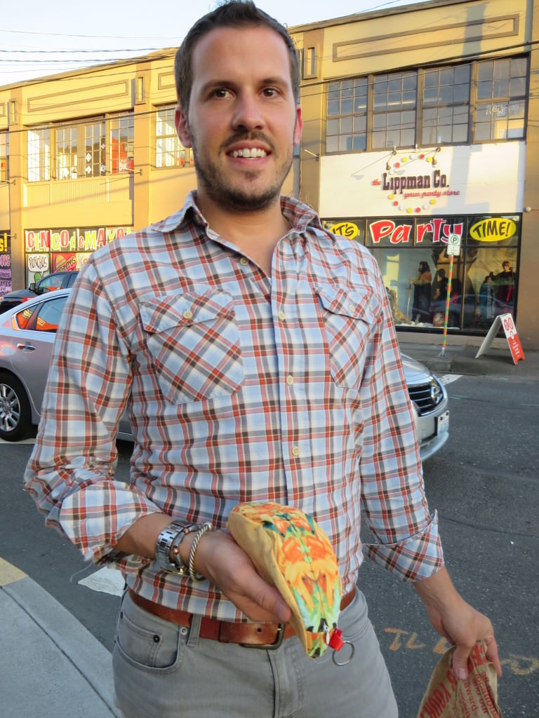 Keith and his taco purse that I bought him at Powell's.