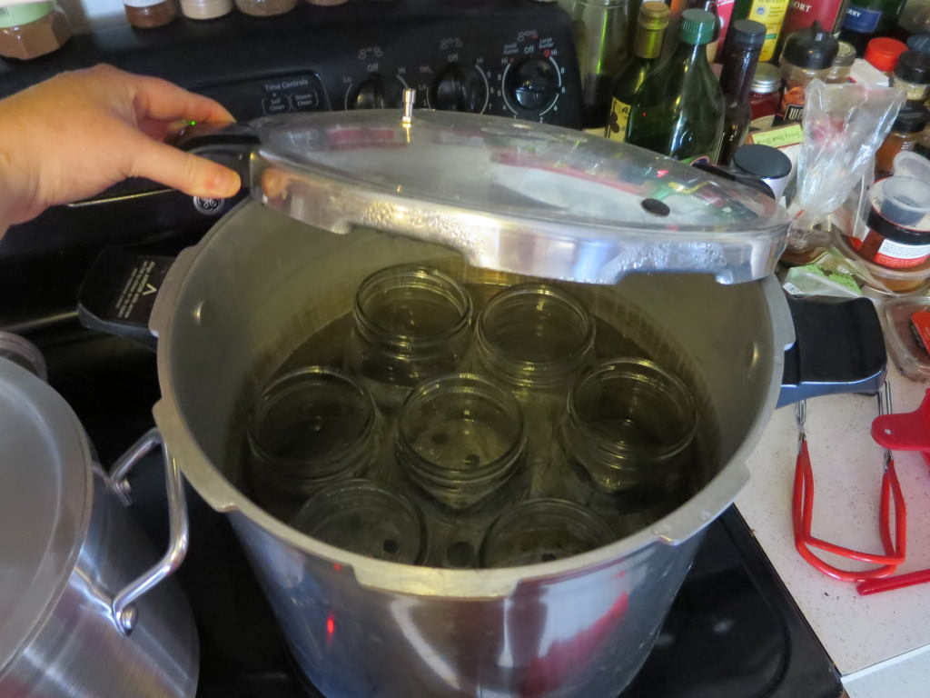 how to make dill pickles: Heating jars in the canner