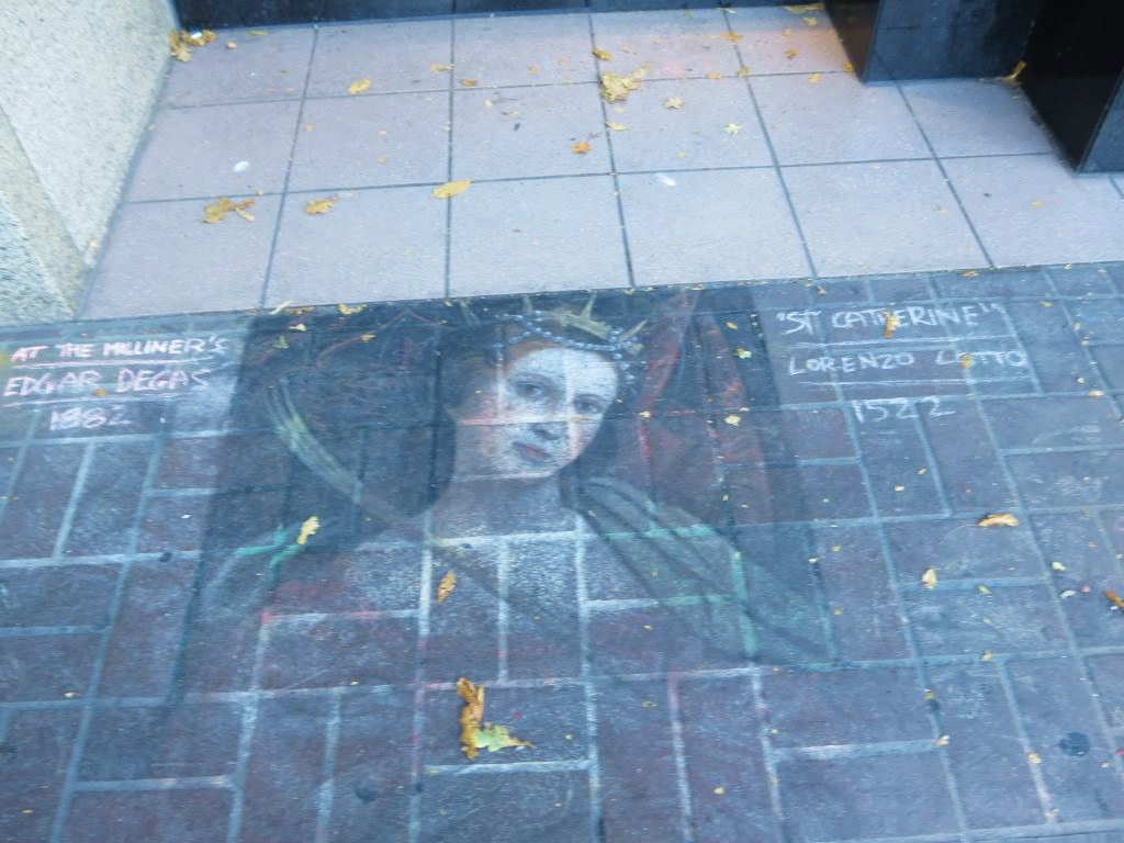 Sidewalk chalk art on Government Street Victoria BC