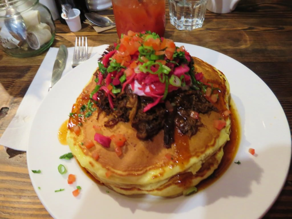 Pulled pork pancakes The Jam Cafe Victoria BC