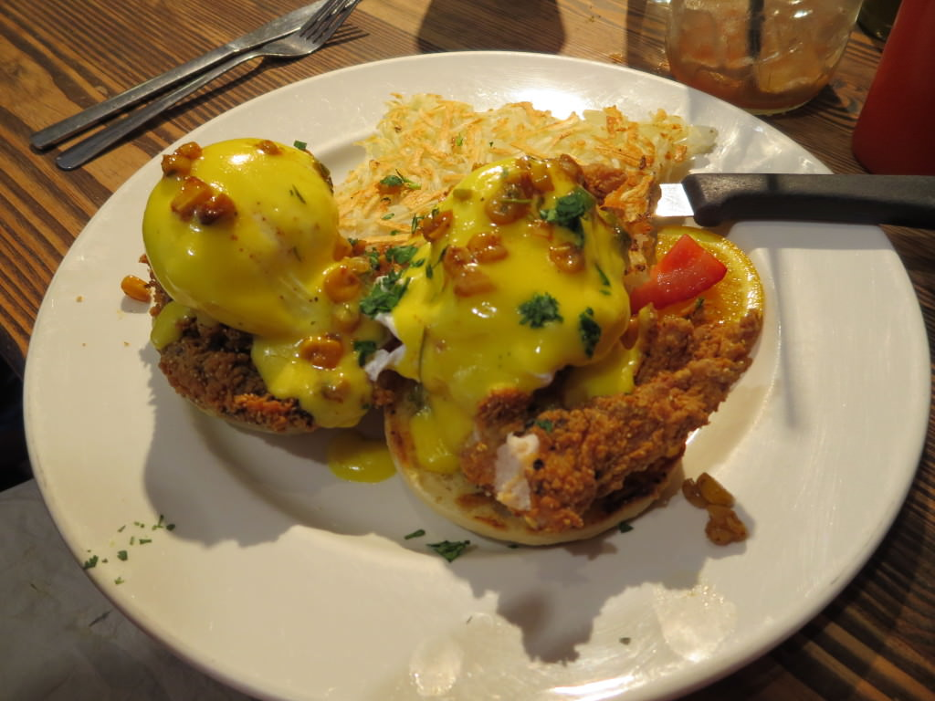 Fried chicken eggs benedict The Jam Cafe Victoria BC