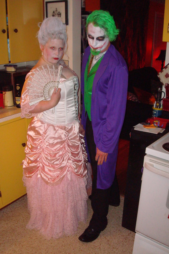 Homemade Halloween costume Marie Anoinette and The Joker