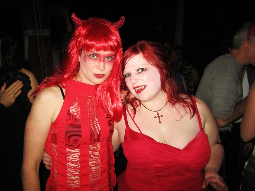 homemade Halloween costume devil and vampire