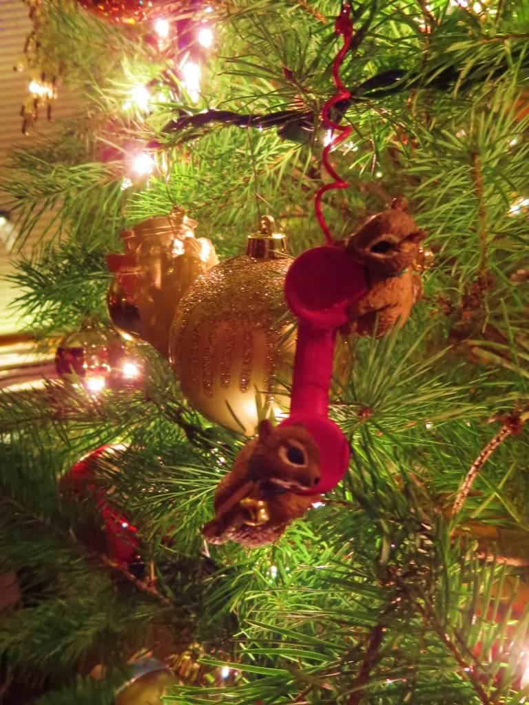 Chipmunks and telephone Christmas ornament