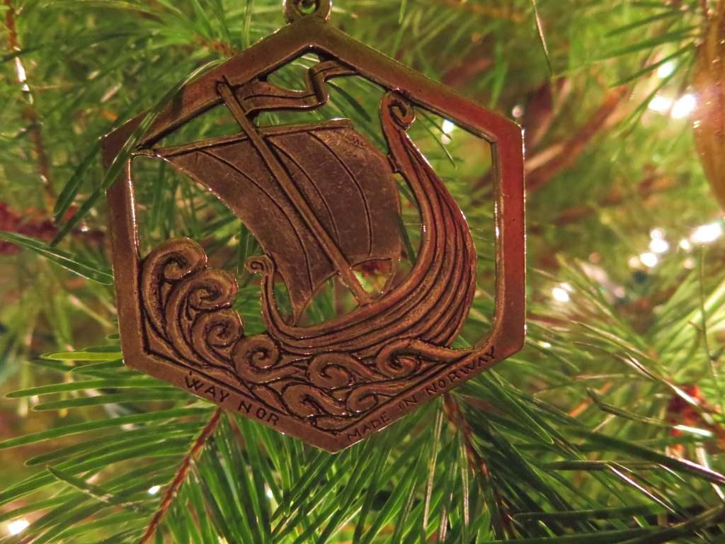 Norwegian viking ship Christmas ornament
