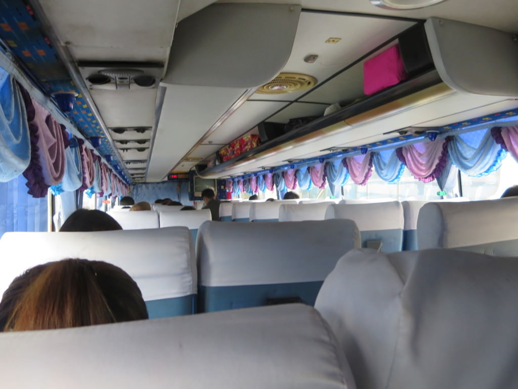 Bus in Thailand motion sickness