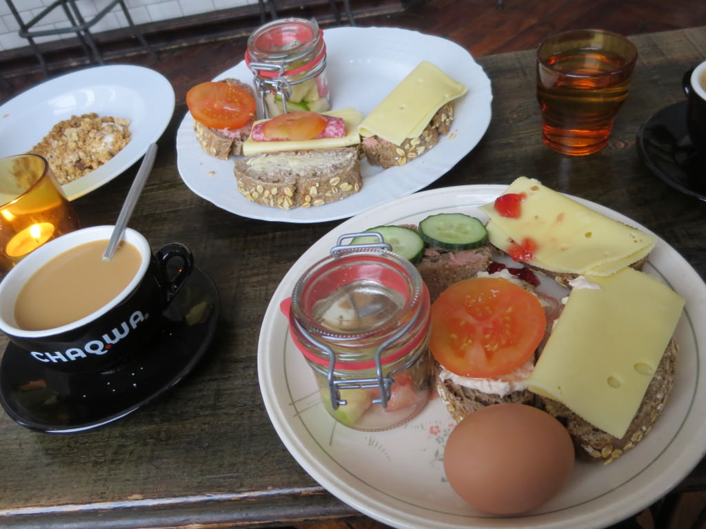 Breakfast buffet at Kex Hostel