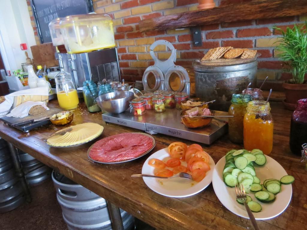 Breakfast buffet at Kex Hostel