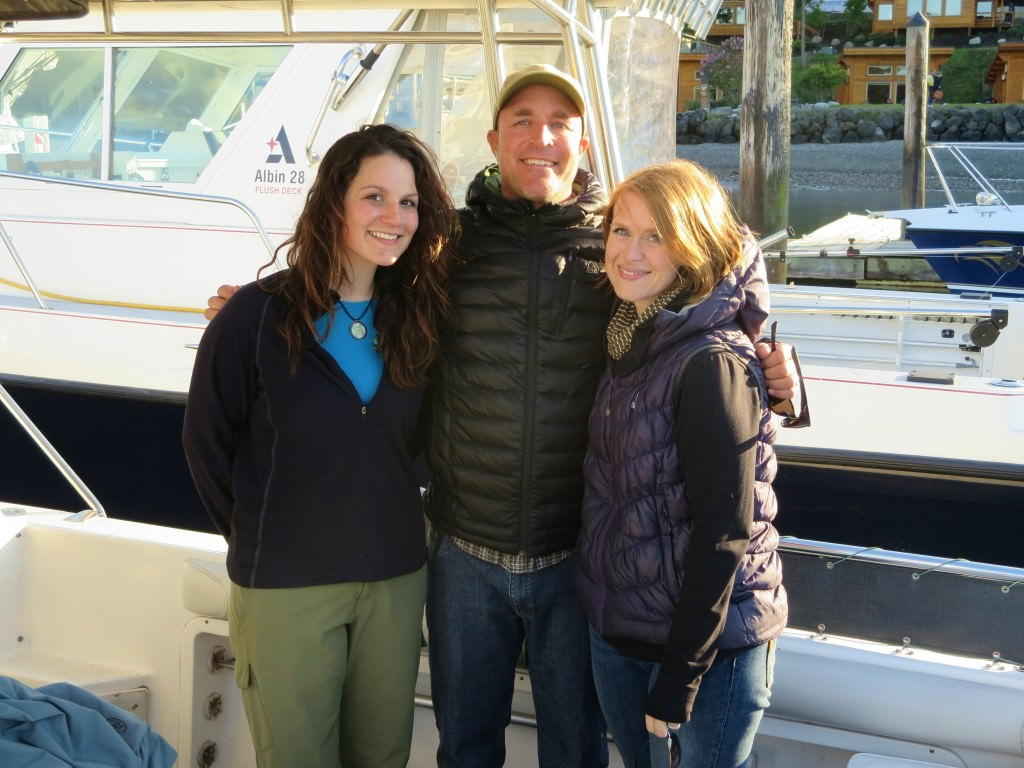 Legacy Charters crew: (left to right) Naturalist Heather, Captain Spencer, and Rachel