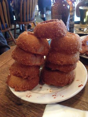 Jolly Roger Taproom smoked onion rings