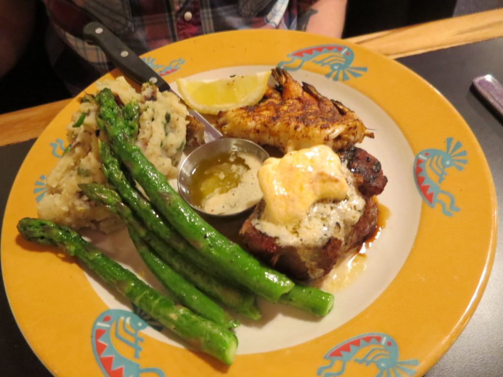 Surf and Turf with shrimp and green chili mashed potatoes at Kokopelli Grill Port Angeles