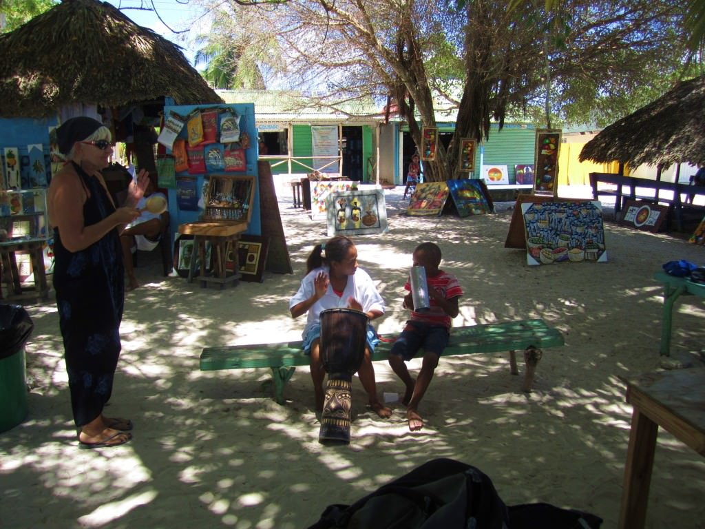 Kids playing music, Mano Juan, Isla Saona