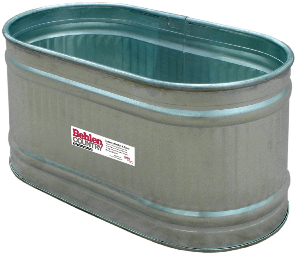 Galvanized steel trough planter