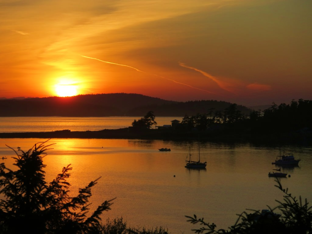 Sunset over Fisherman Bay on Lopez Island