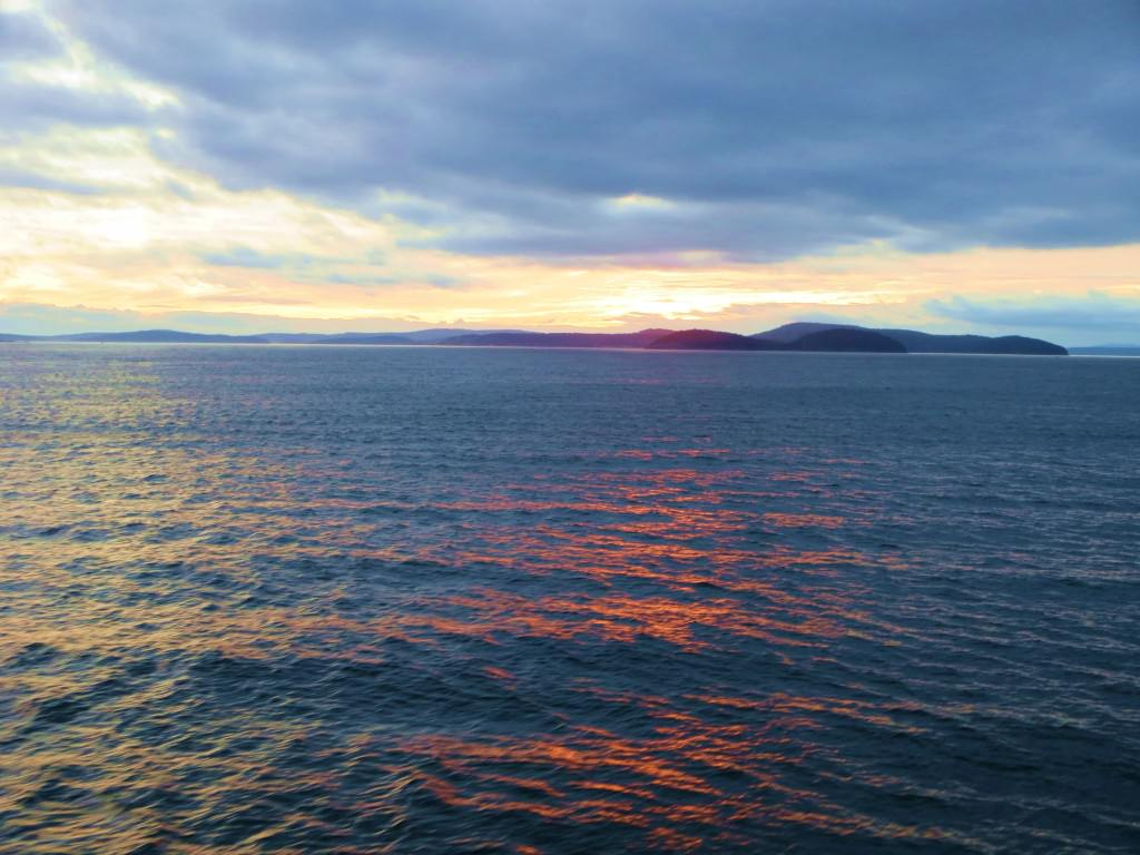 sunset from ferry to orcas Island