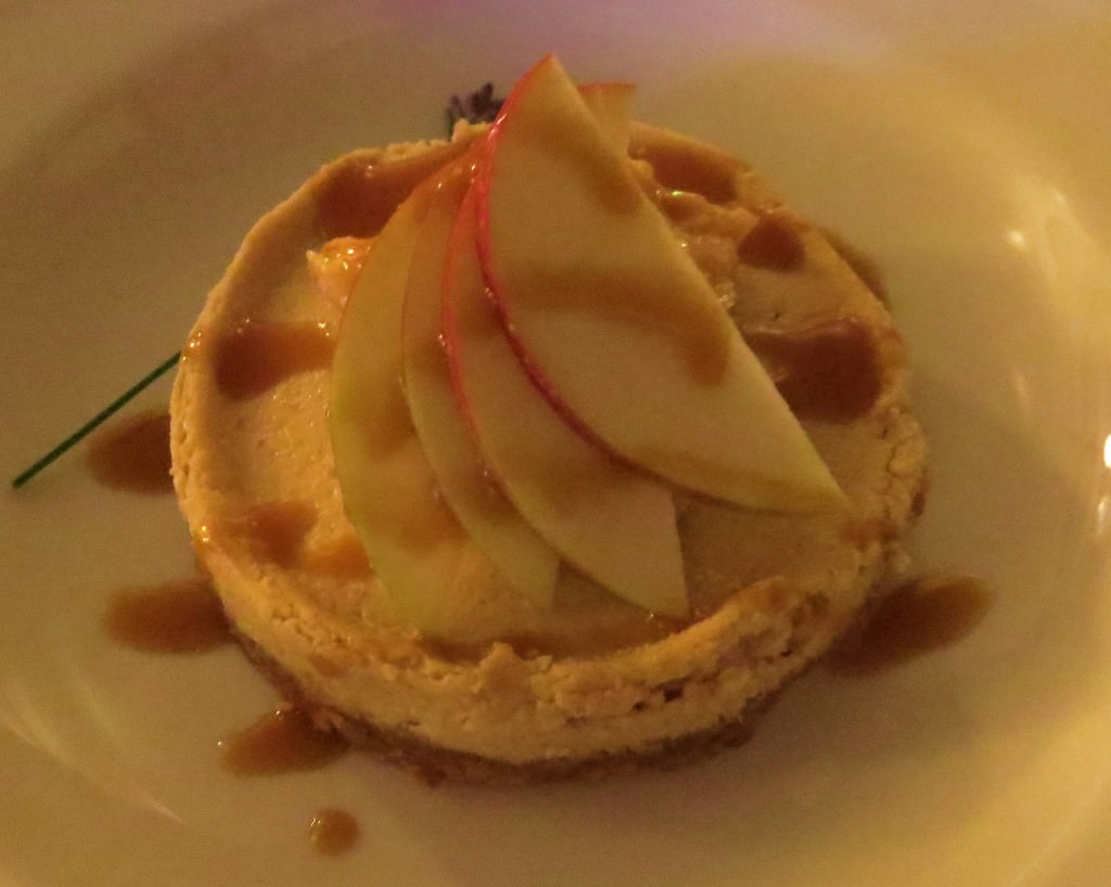 Goat cheese apple bourbon cheesecake
