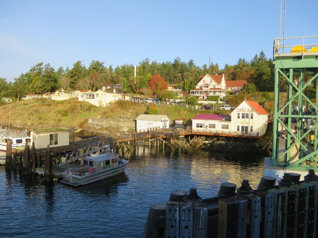 Orcas Island village from ferry