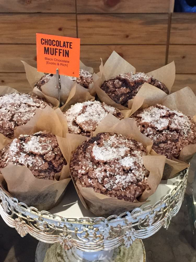 chocolate muffins at Brown Bear Baking in Eastsound