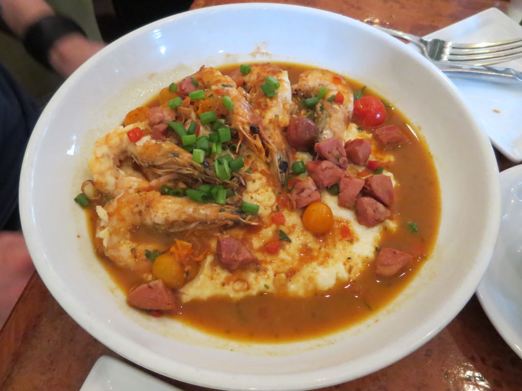 Shrimp with cream cheese grits at Actchafalaya New Orleans