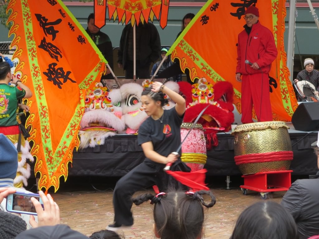 Martial arts performance at Seattle Lunar New Year celebration