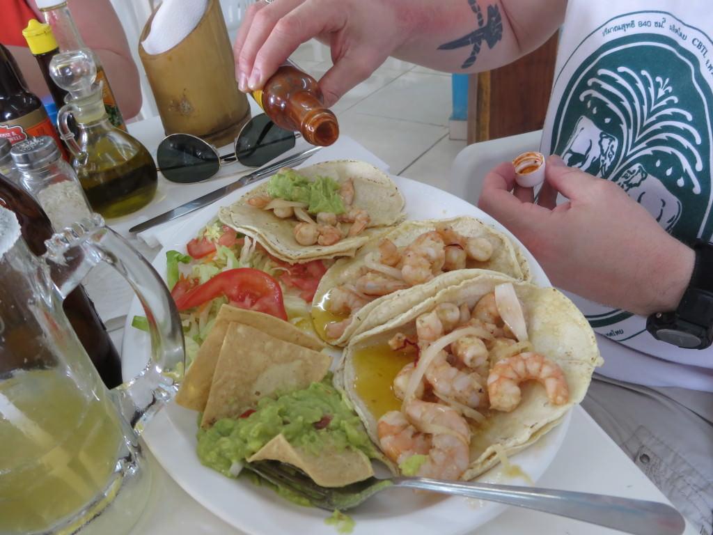 Seafood tacos at La Barracuda in Tulum pueblo
