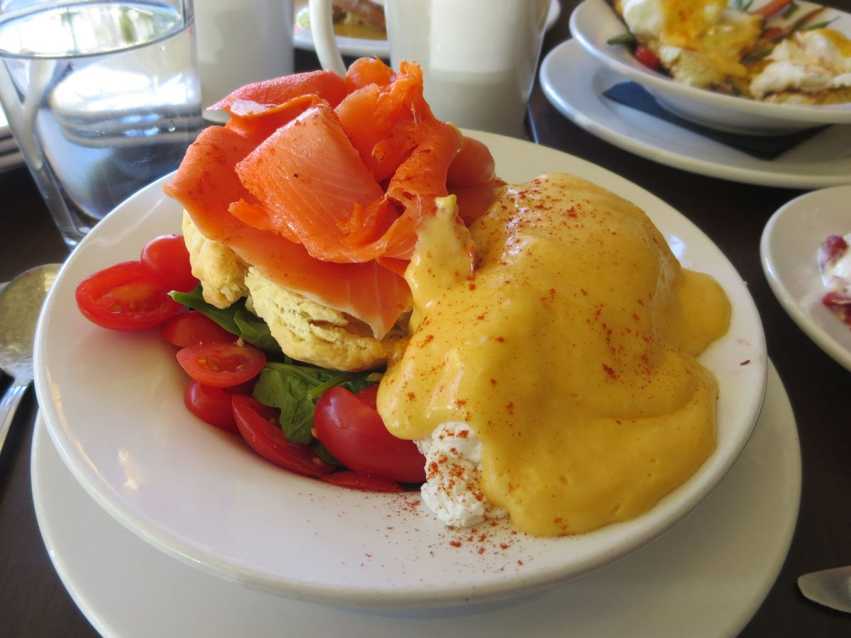 Smoked Salmon Benedict, Olive Marketplace, Walla