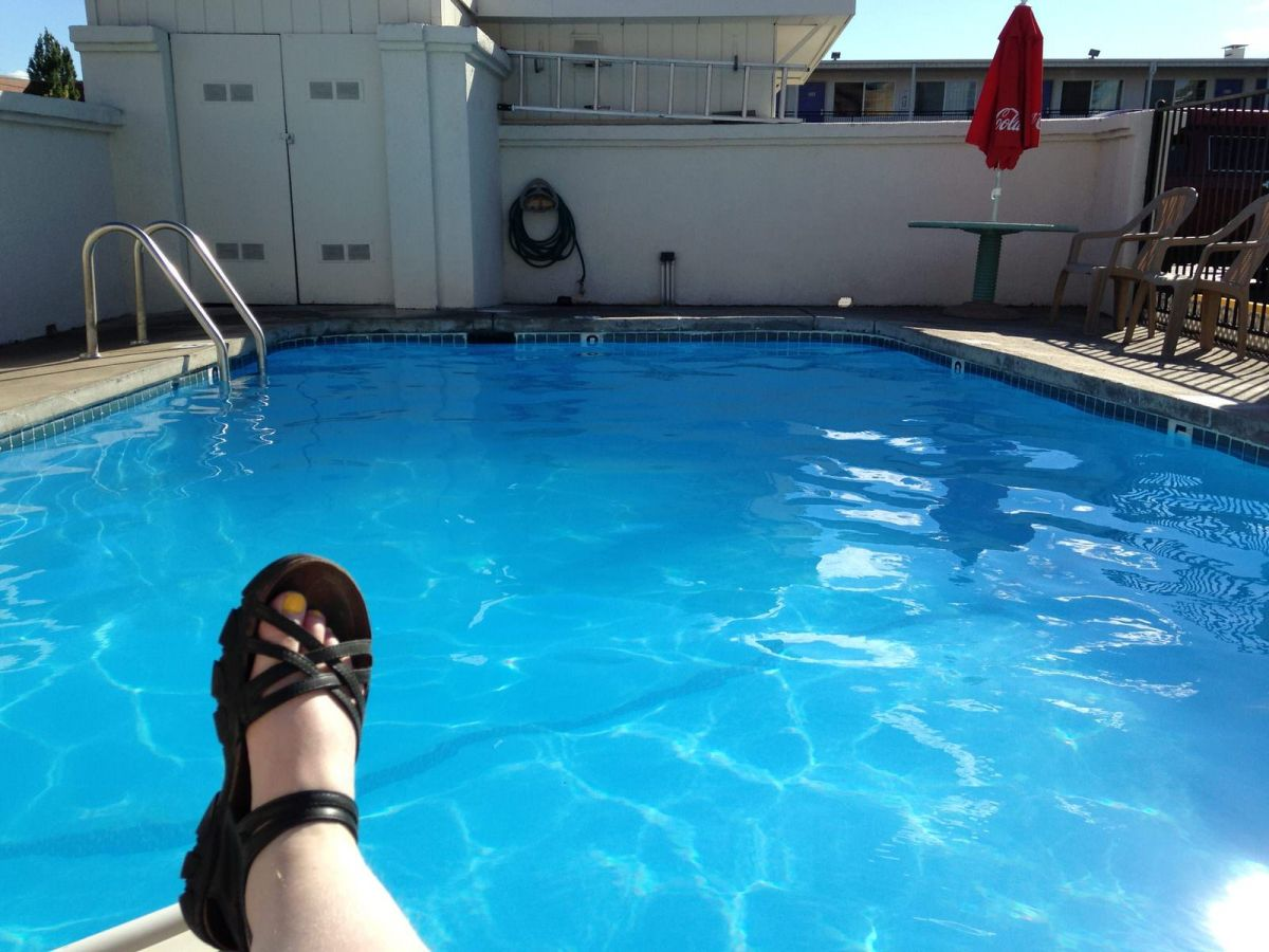 Lounging by the Motel 6 pool, Walla Walla