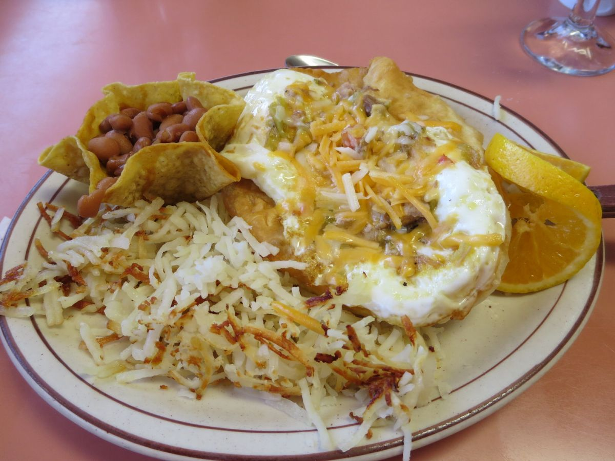 Navajo fry bread huevos rancheros at Goulding's Stagecoach in Monument Valley