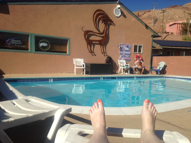 Relaxing by the pool at the Inca Inn