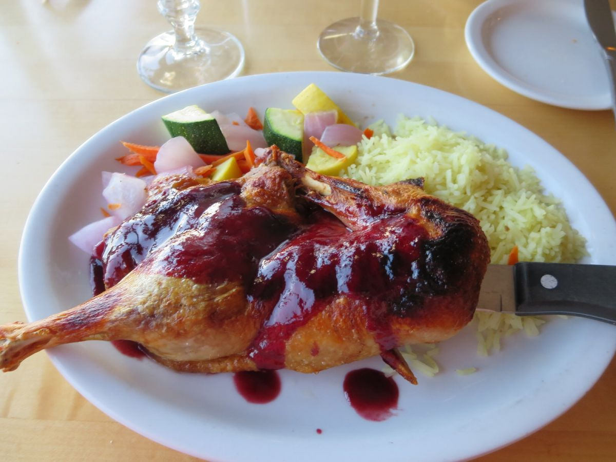 Raspberry duck at The Sunset Grill, Moab, Utah