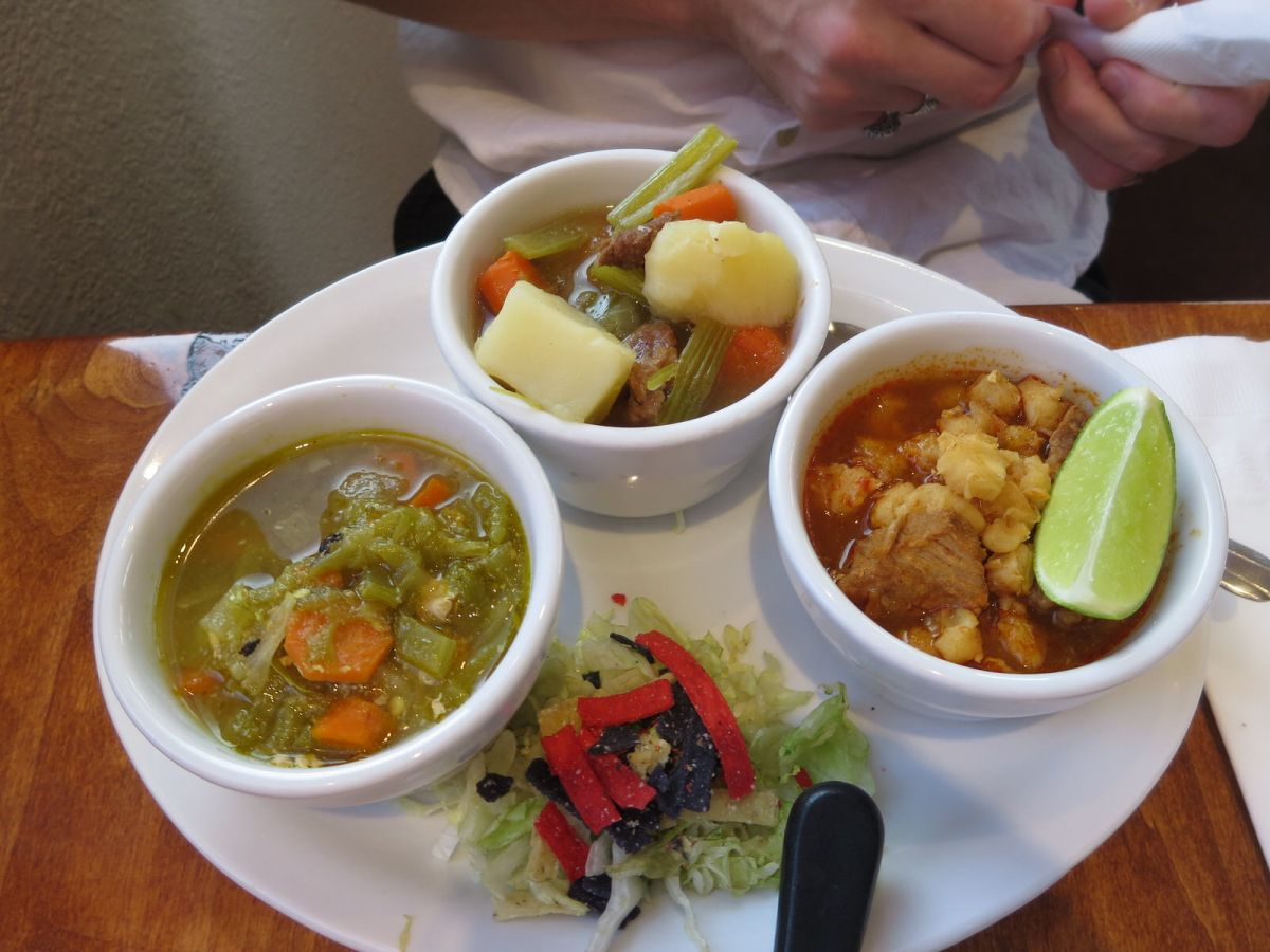 The Navajo sampler platter: Green Chili Stew, Red Chili Pork Posole, Sheep Camp Mutton Stew