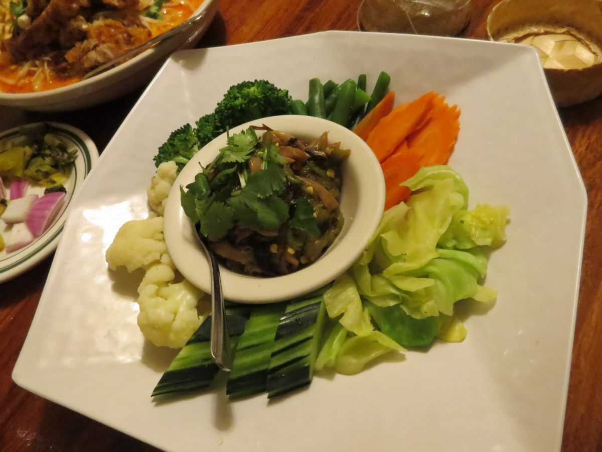 Nam Prik Hed (spicy mushroom dip with fresh vegetables) at Lotus of Siam
