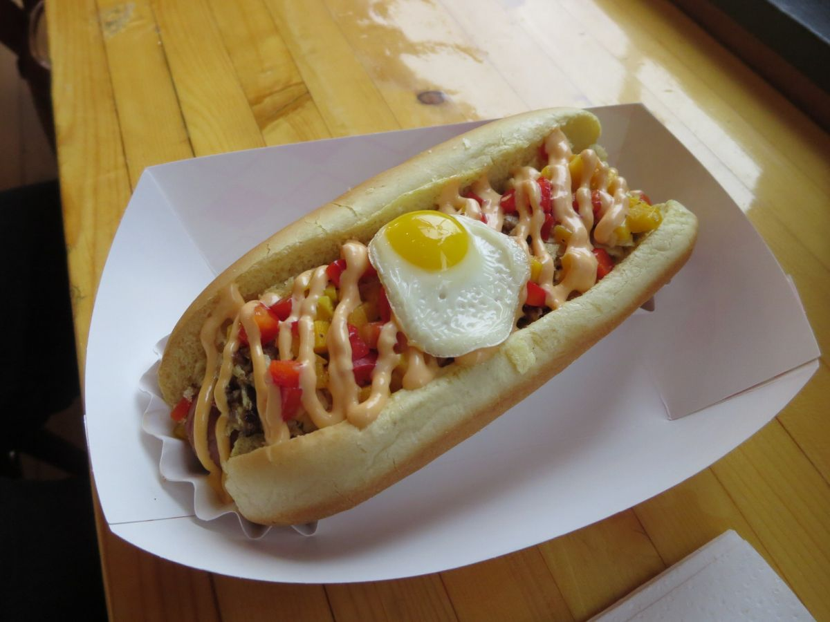 The Grandfather dog at Cheffinis hot dogs
