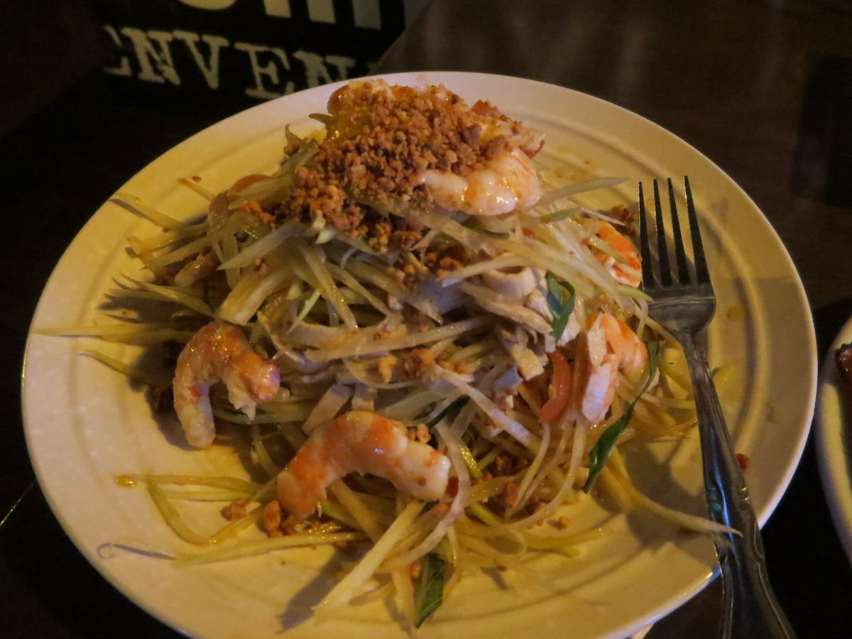 Green papaya salad with prawns and pork at District One Las Vegas