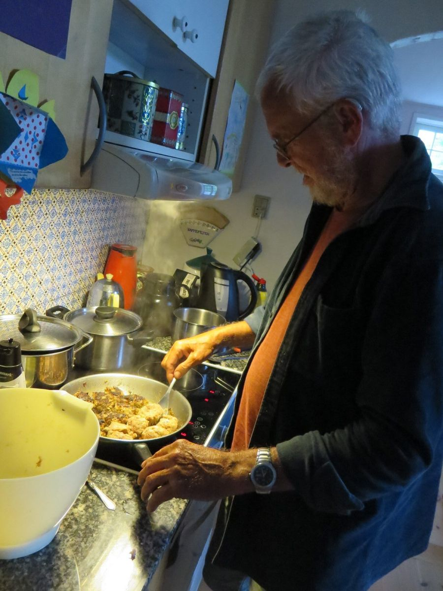 Mogens cooking traditional Danish frikadeller